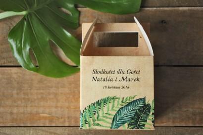 Zielone Pudełka (kwadratowe) na Ciasto weselne z paprociami i zielonymi liśćmi w stylu greenery - Karmelowe nr 5