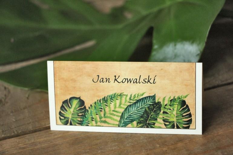 Zielone Winietki ślubne, wizytówki na stół weselny z paprociami i zielonymi liśćmi w stylu greenery - Karmelowe nr 5