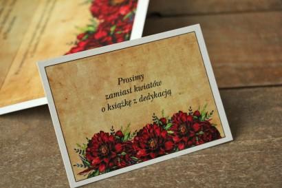 Rustykalny Bilecik do zaproszenia ślubnego z bordowymi piwoniami - Karmelowe nr 6