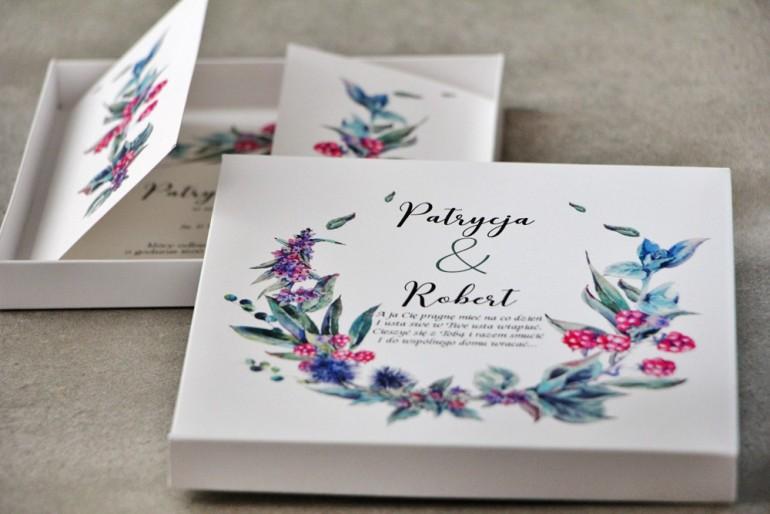 Efektowne Zaproszenie ślubne w pudełku - Pistacjowe 17 - Leśne owoce z chłodnych barwach