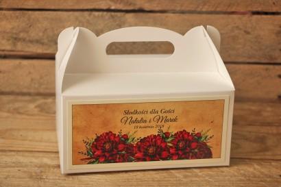 Rustykalne Pudełka (prostokątne) na Ciasto weselne z bordowymi piwoniami - Karmelowe nr 6