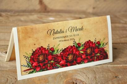 Rustykalne zaproszenia ślubne z bordowymi piwoniami - Karmelowe nr 6