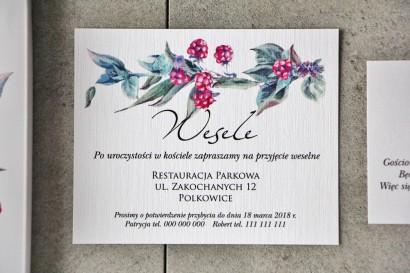 Bilecik do zaproszenia 120 x 98 mm prezenty ślubne wesele - Pistacjowe nr 17 - Leśne owoce w chłodnych barwach