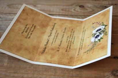 Rustykalne zaproszenia ślubne z białymi zawilcami (anemonami) - Karmelowe nr 7 - wnętrze zaproszenia ślubnego