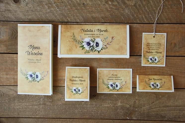 Rustykalne zaproszenia ślubne z białymi zawilcami (anemonami) - Karmelowe nr 7 - zestaw próbny
