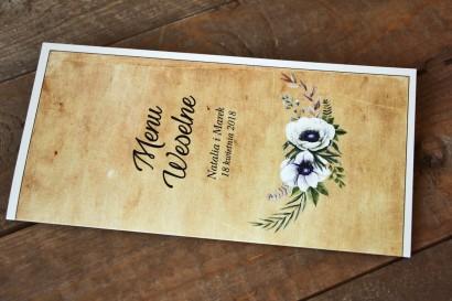 Rustykalne Menu Ślubnez białymi zawilcami (anemonami) - Karmelowe nr 7