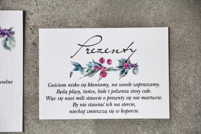 Bilecik do zaproszenia 105 x 74 mm prezenty ślubne wesele - Pistacjowe nr 17 - Leśne owoce w chłodnych barwach