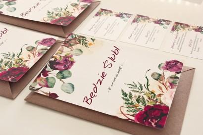 Bordowe, burgundowe, różowe Zaproszenia Ślubne z różami, paprocią i eukaliptusem Sorento nr 16