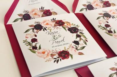 Burgundowe, bordowe Zaproszenia ślubne z różami i piwoniami - Kalia nr 9