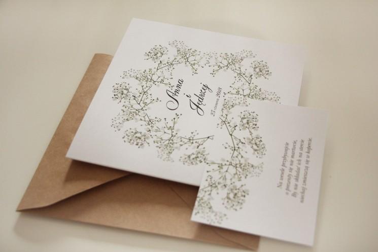 zaproszenia ślubne - kwiat gipsówka