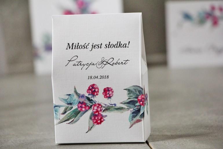 Pudełeczko stojące na cukierki, podziękowania dla Gości weselnych - Pistacjowe nr 17 - Leśne owoce w chłodnych barwach