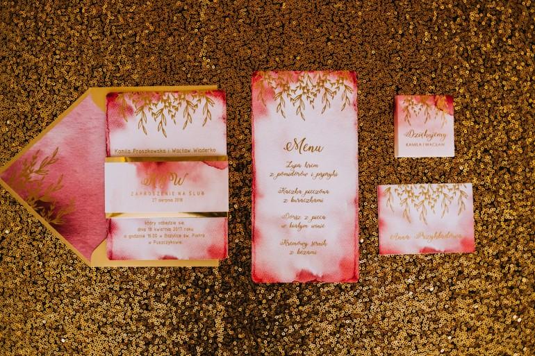 Zestaw próbny zaproszeń ślubnych Kamira nr 1 - złore zaproszenia ślubne