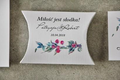 Pudełeczko poduszeczka na cukierki, podziękowania dla Gości weselnych - Pistacjowe nr 17 - Leśne owoce w chłodnych barwach