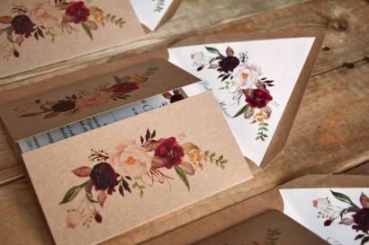 Ekologiczne, burgundowe zaproszenia ślubne z piwonią i różą z dodatkiem koloru bordowego i różowego - Owoce Leśne nr 9