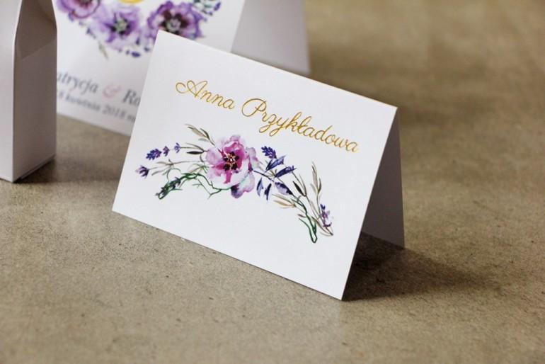 Winietki na stół weselny, ślub - Cykade nr 9 ze złoceniem -  Fioletowe delikatne kwiaty z polną trawą