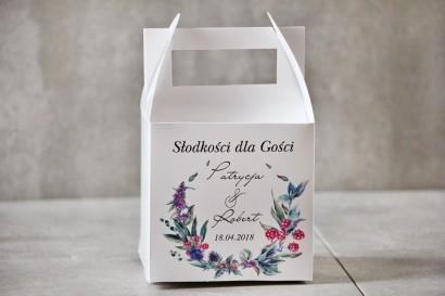 Pudełko na ciasto kwadratowe, tort weselny - Pistacjowe nr 17 - Leśne owoce w chłodnych barwach