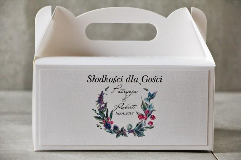 Prostokątne pudełko na ciasto, tort weselny, Ślub - Pistacjowe nr 17 - Leśne owoce w chłodnych barwach