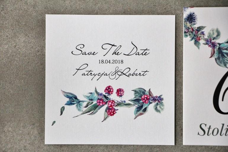 Bilecik Save The Date do zaproszenia - Pistacjowe nr 17 - Leśne owoce