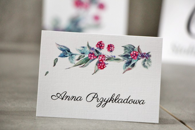 Winietki na stół weselny, ślub - Pistacjowe nr 17 - Leśne owoce w chłodnych barwach