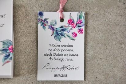 Zawieszka na butelkę, Wódka weselna, ślub - Pistacjowe nr 17 - Leśne owoce w chłodnych barwach