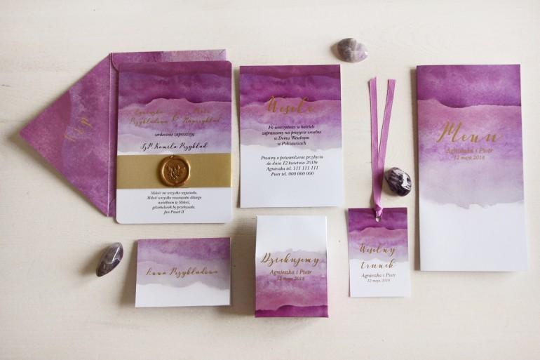 Zestaw zaproszeń ślubnych z lakiem i złoceniem - Delfina nr 2
