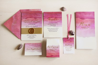 Zestaw zaproszeń ślubnych z lakiem i złoceniem - Delfina nr 5