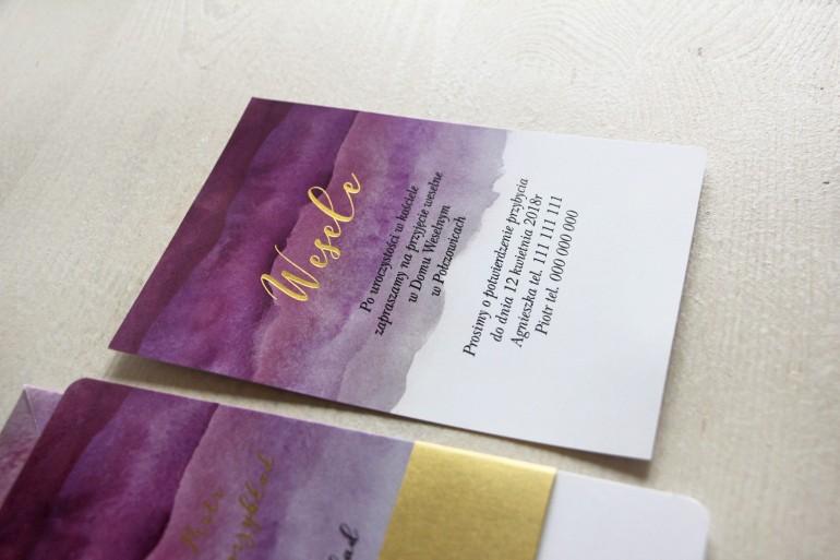 Fioletowy, akwarelowy bilecik ze złoceniem do zaproszeń ślubnych - Delfina nr 2
