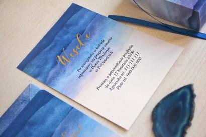 Niebieski, akwarelowy bilecik ze złoceniem do zaproszeń ślubnych - Delfina nr 3