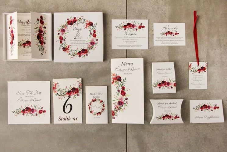 Efektowne zaproszenie ślubne w pudełku z dodatkami - Pistacjowe 18 - Eleganckie bordowe róże