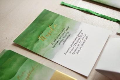 Zielony, akwarelowy bilecik ze złoceniem do zaproszeń ślubnych - Delfina nr 4