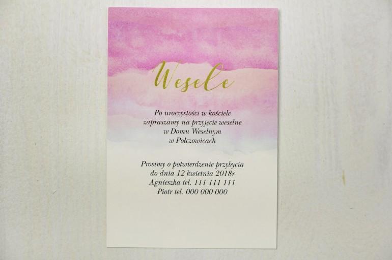 Różowy, akwarelowy bilecik ze złoceniem do zaproszeń ślubnych - Delfina nr 5