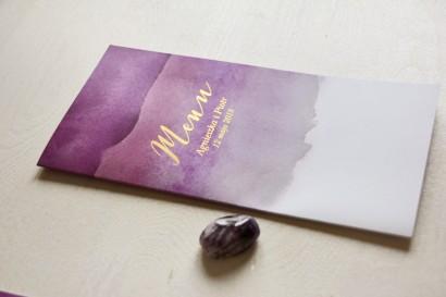 Fioletowe, akwarelowe menu ślubne ze złoceniem - Delfina nr 2