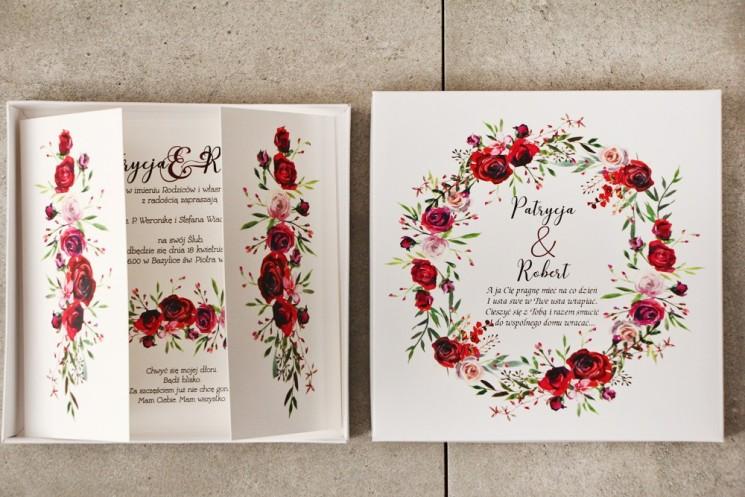 Efektowne Zaproszenie ślubne w pudełku - Pistacjowe 18 - Eleganckie bordowe róże