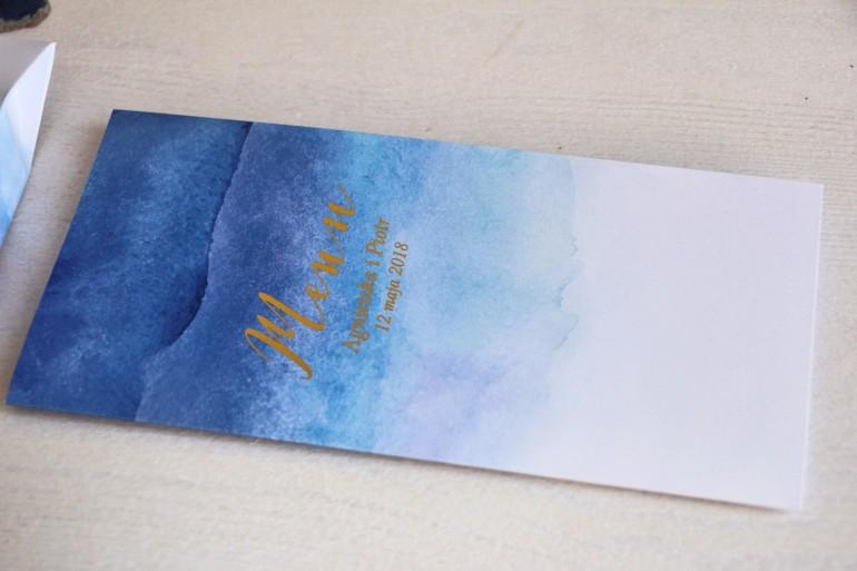 Niebieskie, akwarelowe menu ślubne ze złoceniem - Delfina nr 3