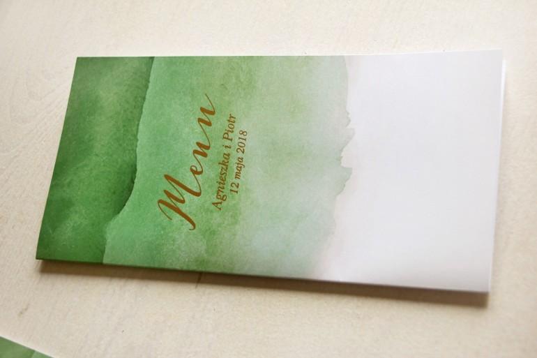 Zielone, akwarelowe menu ślubne ze złoceniem - Delfina nr 4