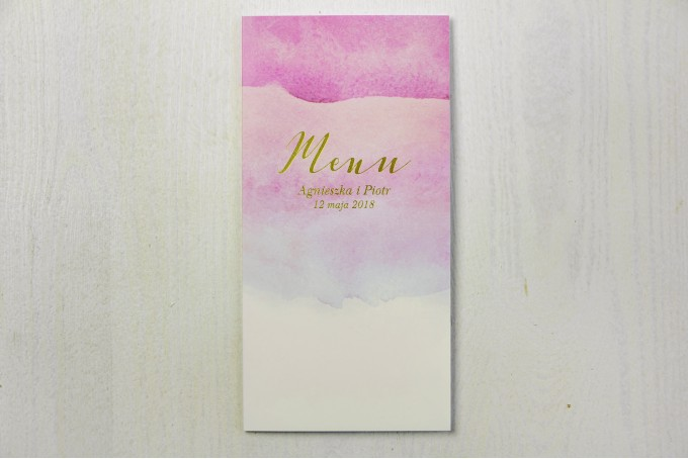 Różowe, akwarelowe menu ślubne ze złoceniem - Delfina nr 5