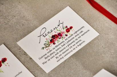 Bilecik do zaproszenia 105 x 74 mm prezenty ślubne wesele - Pistacjowe nr 18 - Eleganckie czerwone róże