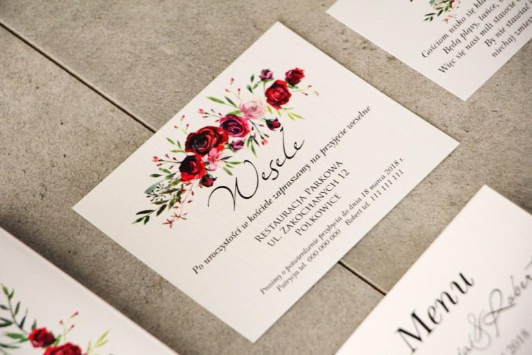Bilecik do zaproszenia 120 x 98 mm prezenty ślubne wesele - Pistacjowe nr 18 - Czerwone eleganckie róże