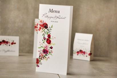 Menu weselne, ślub, stół weselny - Pistacjowe nr 18  - Eleganckie bordowe róże