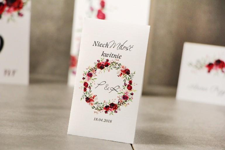Podziękowania dla Gości weselnych - Nasiona Niezapominajki - Pistacjowe nr 18 - Wianek eleganckich czerwonych róż