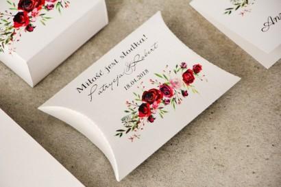 Pudełeczko poduszeczka na cukierki, podziękowania dla Gości weselnych - Pistacjowe nr 18 - Eleganckie bordowe róże