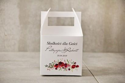 Pudełko na ciasto kwadratowe, tort weselny - Pistacjowe nr 18 - Eleganckie bordowe róże