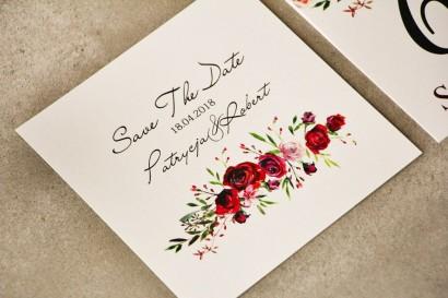 Bilecik Save The Date do zaproszenia - Pistacjowe nr 18 - Bordowe róże