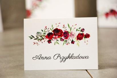 Winietki na stół weselny, ślub - Pistacjowe nr 18 - Eleganckie bordowe róże