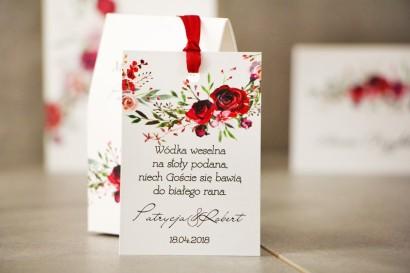 Zawieszka na butelkę, Wódka weselna, ślub - Pistacjowe nr 18 - Eleganckie bordowe róże