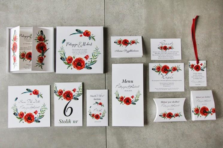 Efektowne zaproszenie ślubne w pudełku z dodatkami - Pistacjowe nr 19 - Czerwone polne maki