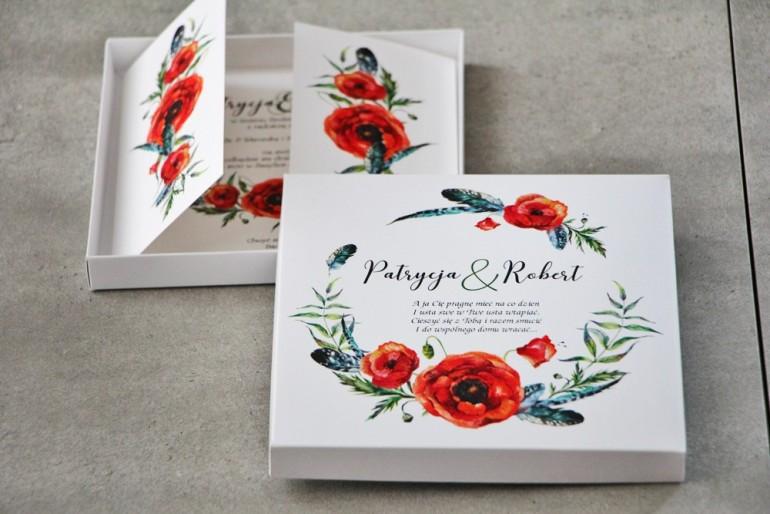 Efektowne Zaproszenie ślubne w pudełku - Pistacjowe nr 19 - Czerwone polne maki