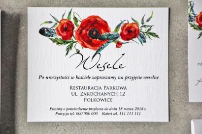 Bilecik do zaproszenia 120 x 98 mm prezenty ślubne wesele - Pistacjowe nr 19 - Czerwone polne maki