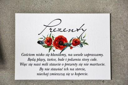 Bilecik do zaproszenia 105 x 74 mm prezenty ślubne wesele - Pistacjowe nr 19 - Czerwone polne maki