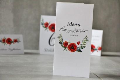 Menu weselne, ślub, stół weselny - Pistacjowe nr 19 - Czerwone polne maki